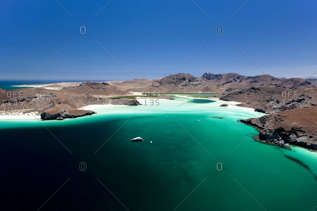 Aerial view of natural salt lagoons in La Paz, Mexico