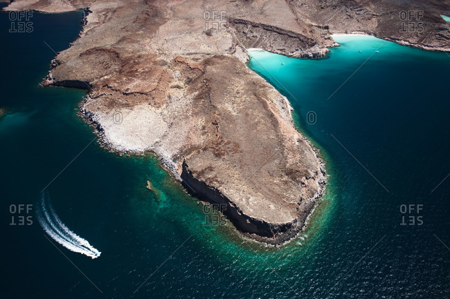 Aerial view of a yacht near a Mexican peninsula