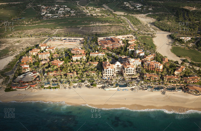 Aerial view of luxury hotels and resorts in Mexico