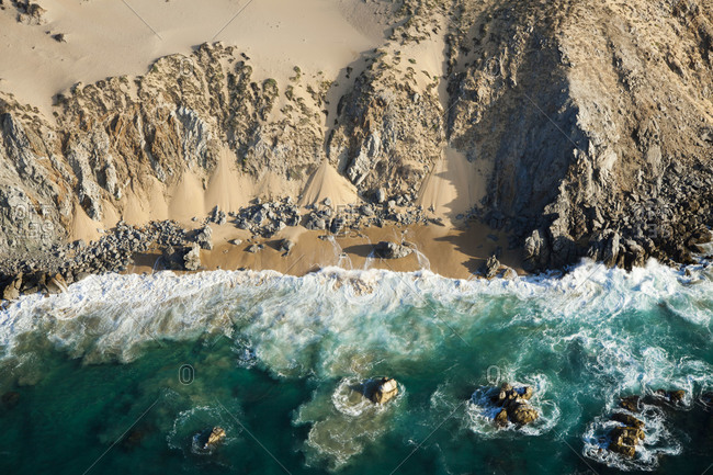 Aerial view of a rocky coast in Mexico