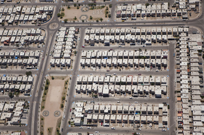 Aerial view of a residential area in Mexico