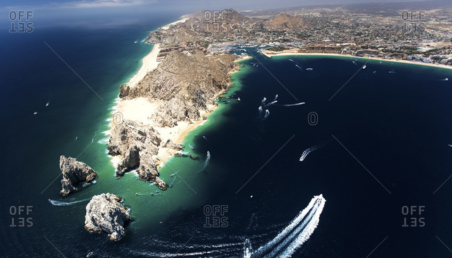 Aerial view of the Arch of Cabo San Lucas in Mexico