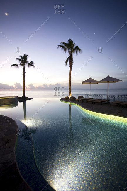 Infinity pool and palm trees at a Mexican coast