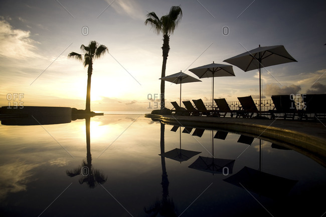 Infinity pool at sunset in Mexico