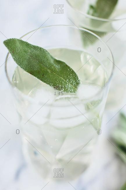 Glass of homemade honey sage soda