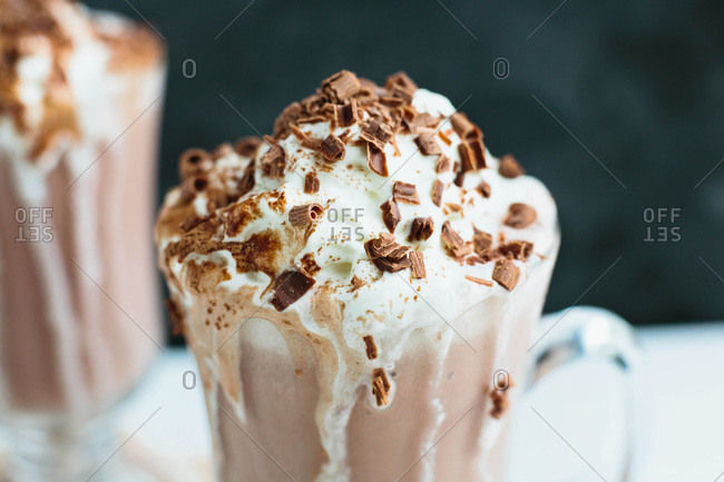 Close up of frozen hot chocolate