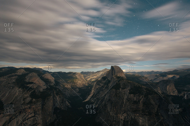 Star trails overlooking Half Dome from Glacier Point