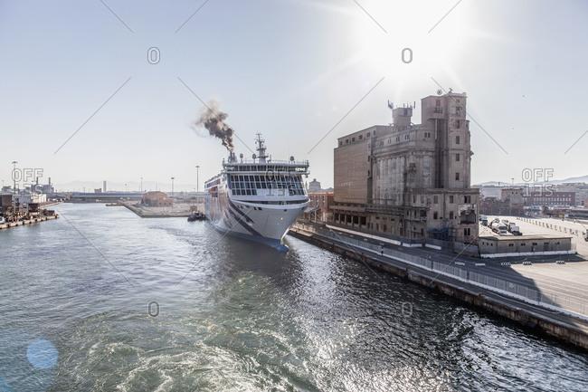 Livorno, Italy - June 9, 2014: Cruise ship docked in a harbor