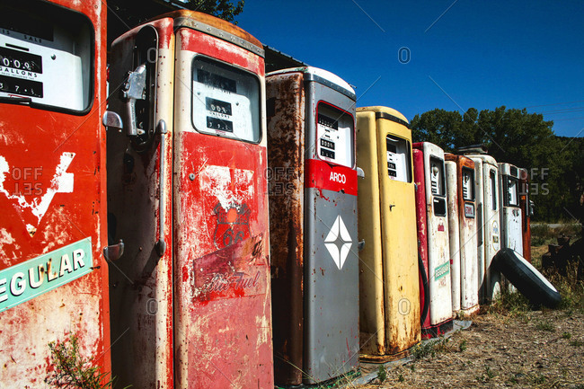 Dixon, NM, USA - Circa 2009: Old gas pumps at Johnnies Classic Gas museum