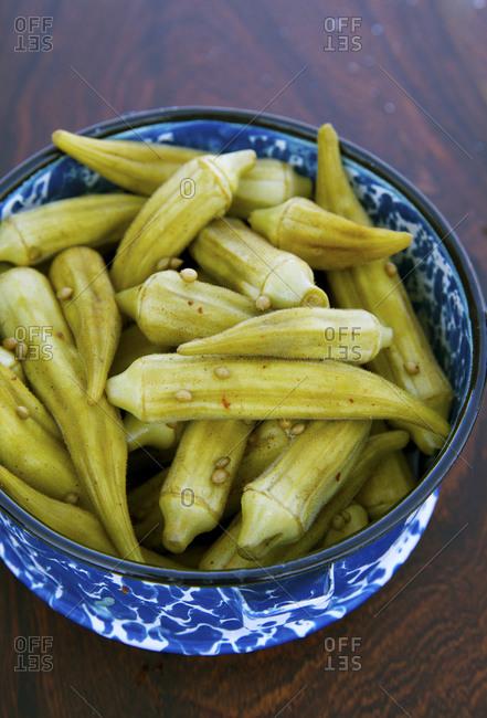 Bowl of pickled okra