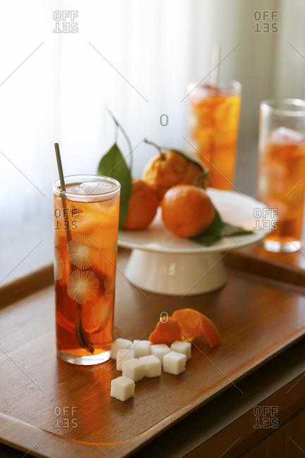 Orange cocktails served