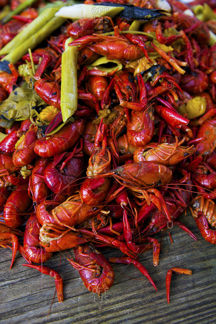 Pile of steamed crawfish