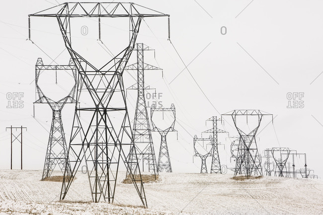 Various electricity pylons coming from Grand Coulee Dam