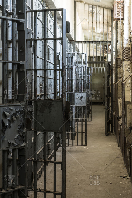 Open prison cells in the adjustment unit of Lorton Reformatory, Virginia