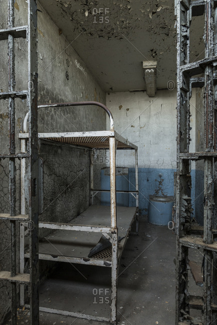 Bunk bed in an empty cell in the adjustment unit of Lorton Reformatory, Virginia