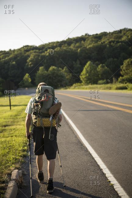 Ridge runner walks along Skyline Drive, Shenandoah National Forrest, Virginia