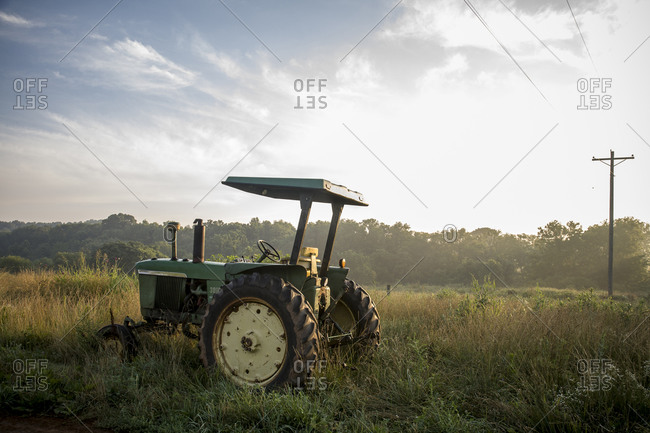 A tractor in a field, Virginia