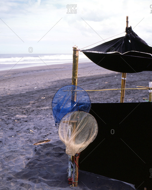 Beach shelter with fishing nets
