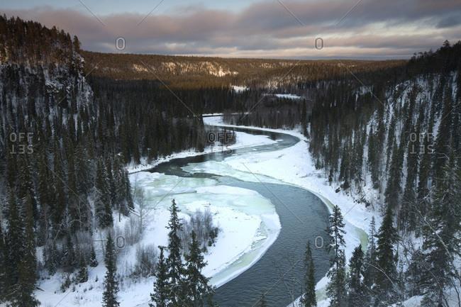 The Kitka River at sunset from Koivumutka in Oulanka National Park, Finland
