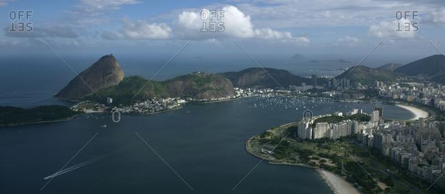 Aerial view of Guanabara Bay in Rio de Janeiro