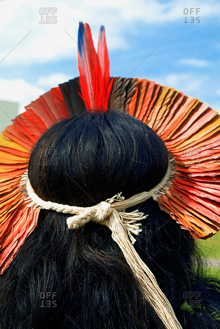 Back view of a tribesman in Brazil