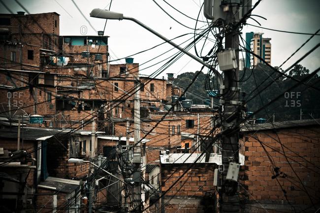 Power lines in a Brazilian slum