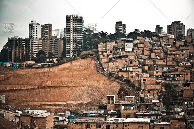 Cityscape of a slum in Brazil