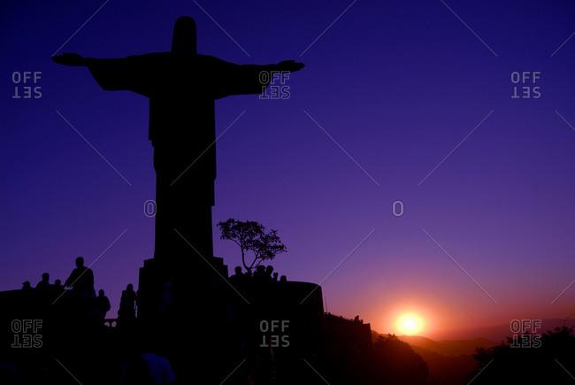 Rio de Janeiro, Brazil - August 13, 2009: Christ the Redeemer at sunset