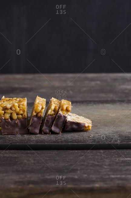 Sliced nut bars on a cutting board