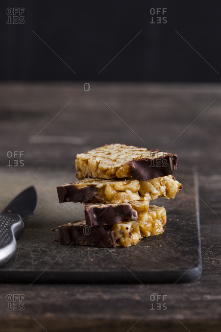 Nut bars on a cutting board
