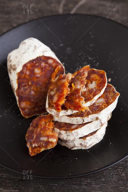 Close up of a sliced salami