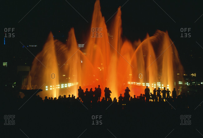 Montjuic Fountain in Barcelona at night