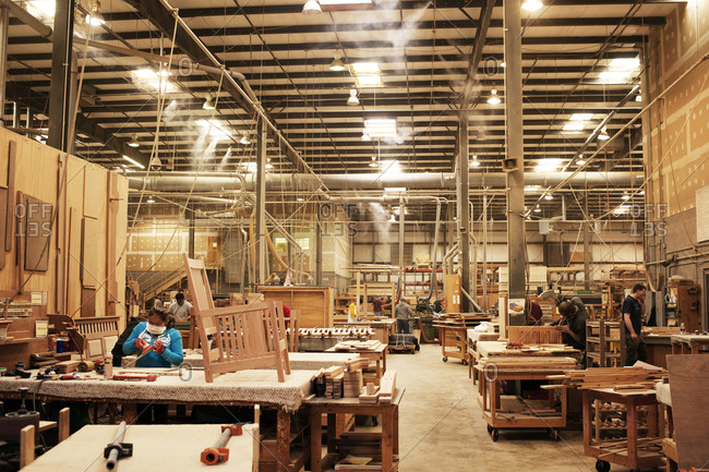 Workers in a furniture factory