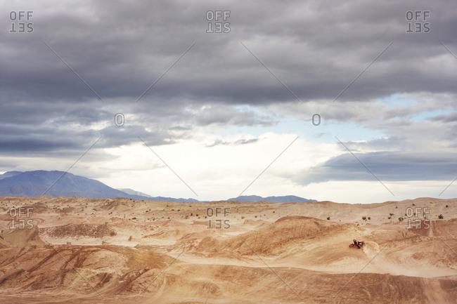 Dirt biker on a desert track