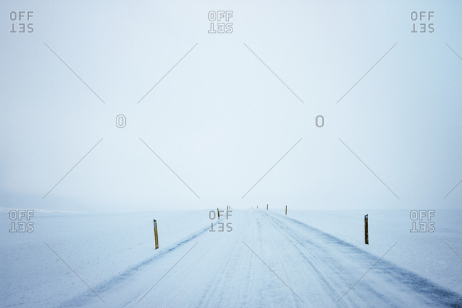 Markers line a road in a white winter landscape