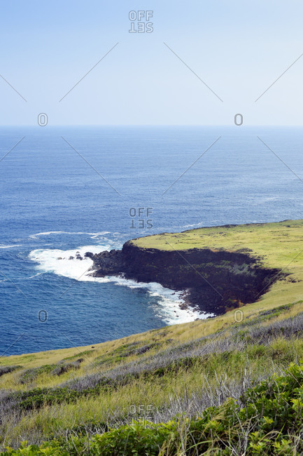View to promontory in the South of the island, Hawaii