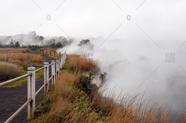 Sulfur vapor at Steaming Bluff, Hawaii