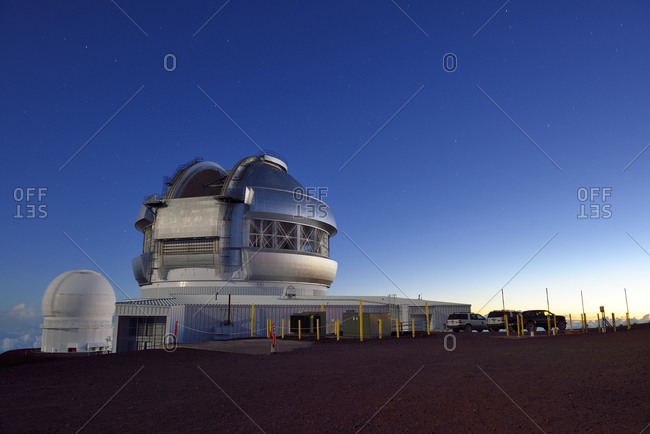 Mauna Kea, Hawaii, USA - January 3, 2015: View to observatory in the moonlight