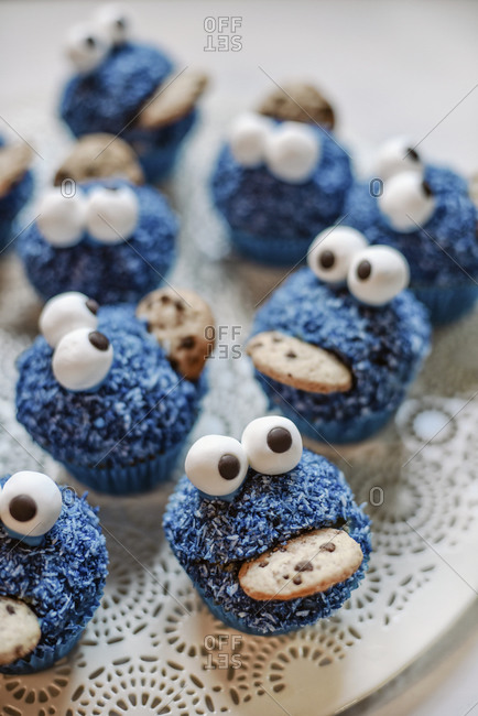Blue Monster Muffins on a plate