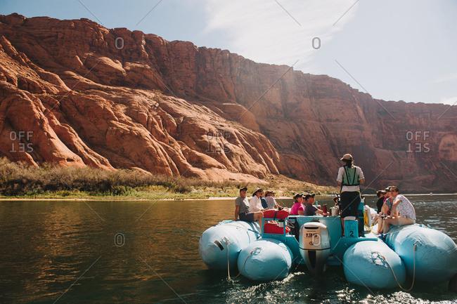 Page, Arizonia, USA - October 18, 2014: Pontoon boat tour on the Colorado river