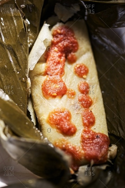 Close up of a tamales Oaxaquenos