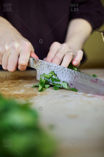 Person chopping cilantro on a cutting board
