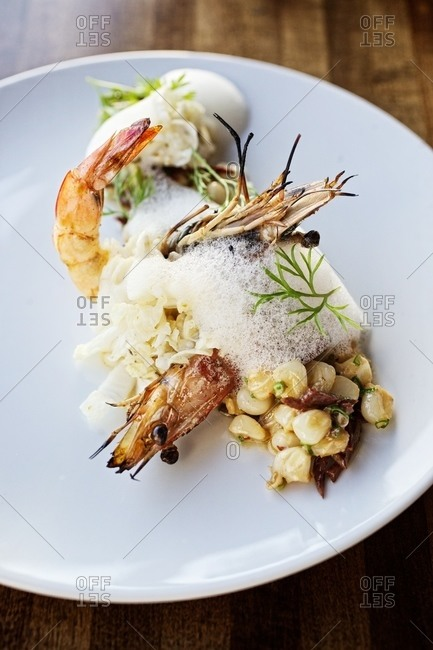 Gourmet shrimp served with corn