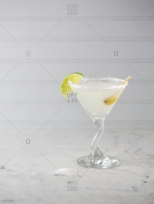 Cocktail served in a salt-rimmed glass