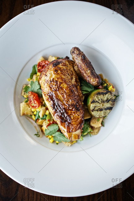 Roasted chicken breast with corn salad