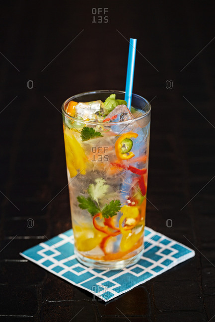 Gin tonic with peppers and cilantro