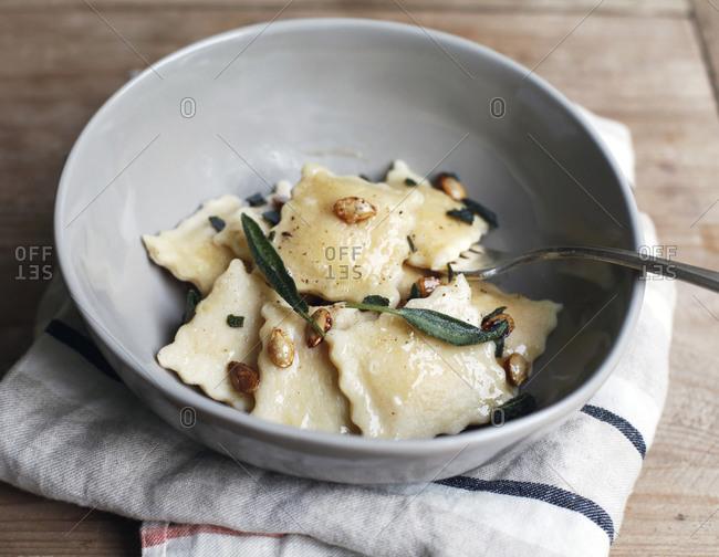 Bowl of homemade ravioli