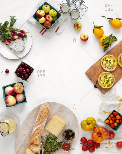 Overhead view of a spring picnic spread