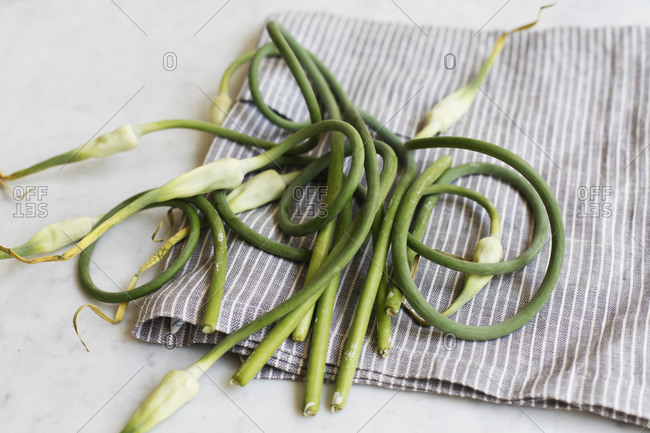 Garlic Scapes on Linen