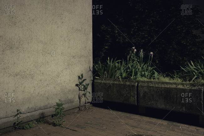 Corner of a building at night
